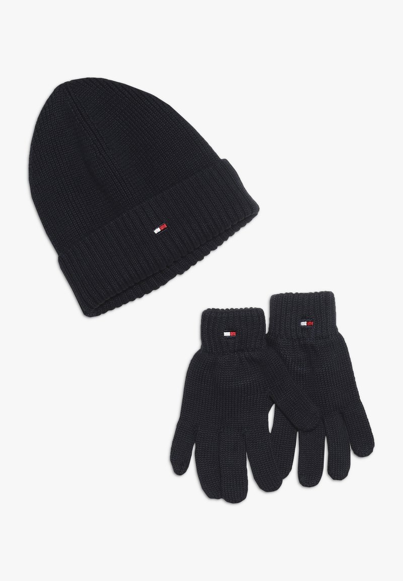 Tommy Hilfiger - FLAG BEANIE GLOVES SET - Gloves - blue