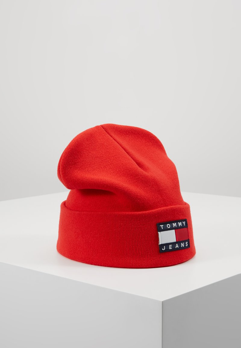 Tommy Jeans - HERITAGE FLAG BEANIE - Bonnet - red