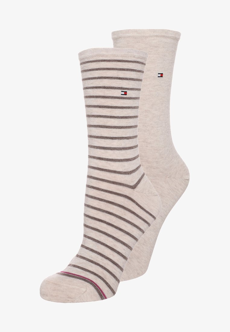 Tommy Hilfiger - WOMEN SMALL STRIPE 2 PACK - Socks - light beige melange