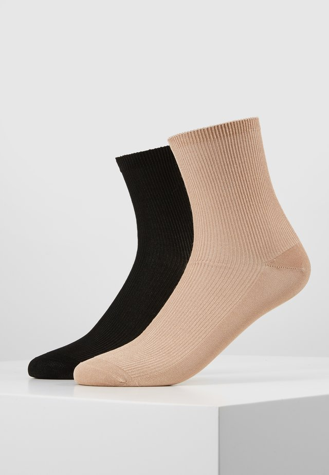 WOMEN SHORT SMALL 2 PACK - Skarpety - black/beige