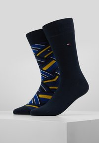 Tommy Hilfiger - MEN SOCK COLOR BLOCK 2 PACK - Calcetines - blue/yellow - 0