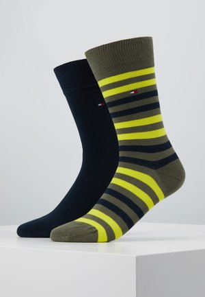 MEN DUO STRIPE SOCK 2 PACK - Calcetines - olive/yellow