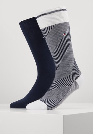 BOLD HERRINGBONE 2 PACK - Chaussettes - white/dark blue