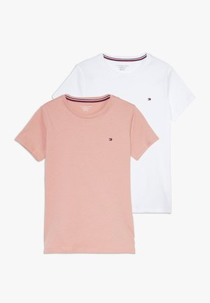 TEE 2 PACK  - Basic T-shirt - rosetan/white