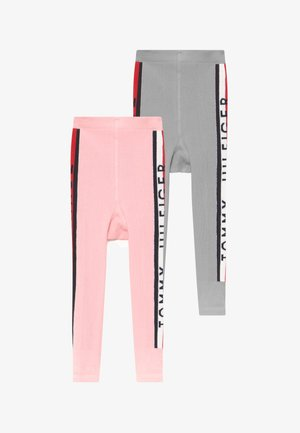 BABY STRIPE UNISEX 2 PACK - Leggings - grey/light pink