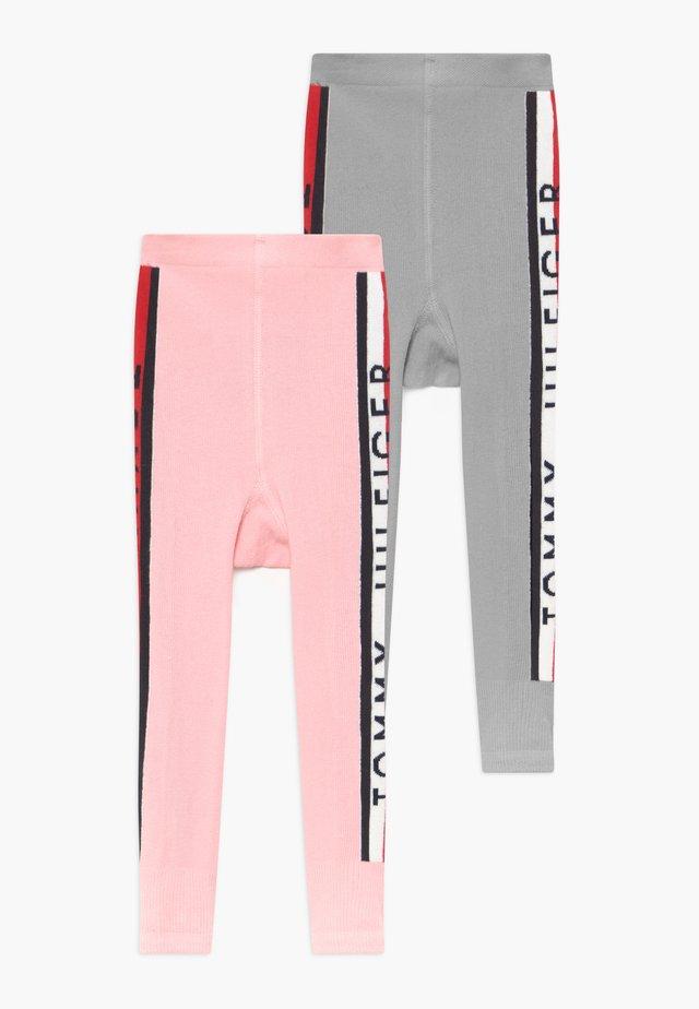 BABY STRIPE UNISEX 2 PACK - Leggings - Stockings - grey/light pink
