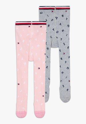 BABY LETTER GIRLS 2 PACK - Punčocháče - grey/light pink