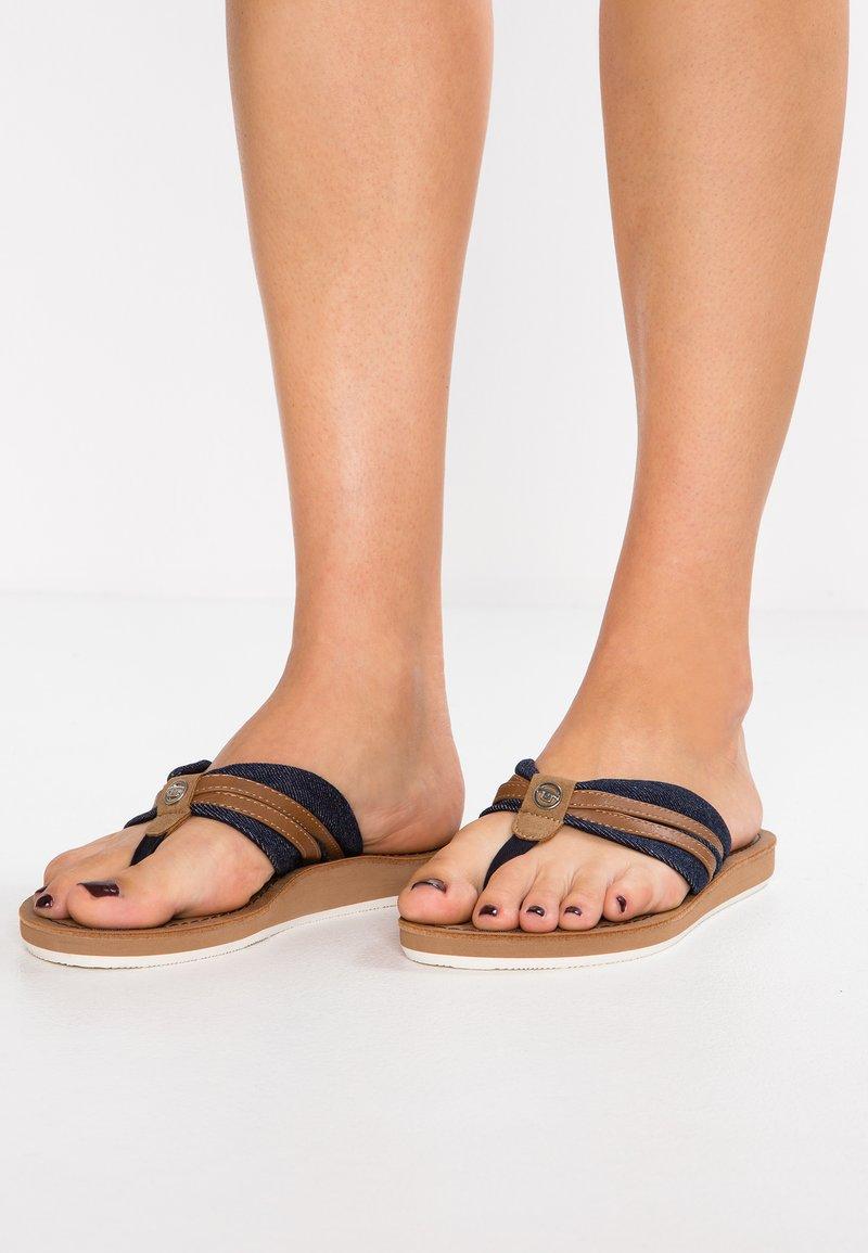 TOM TAILOR - T-bar sandals - navy/camel