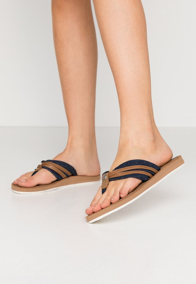 T-bar sandals - navy/camel