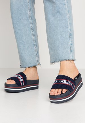 Heeled mules - navy
