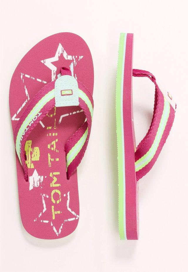 Sandaler m/ tåsplit - pink/white/lime