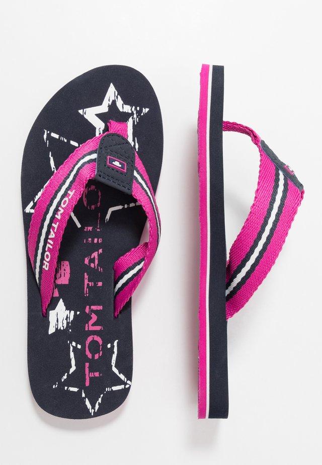 Sandaler m/ tåsplit - pink/navy
