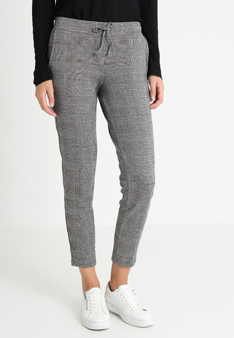 TOM TAILOR - GLENCHECK PANTS - Trousers - coal grey