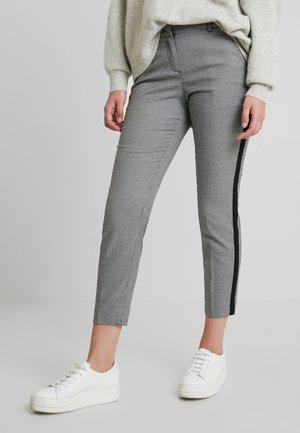 MIA SLIM - Trousers - black/white
