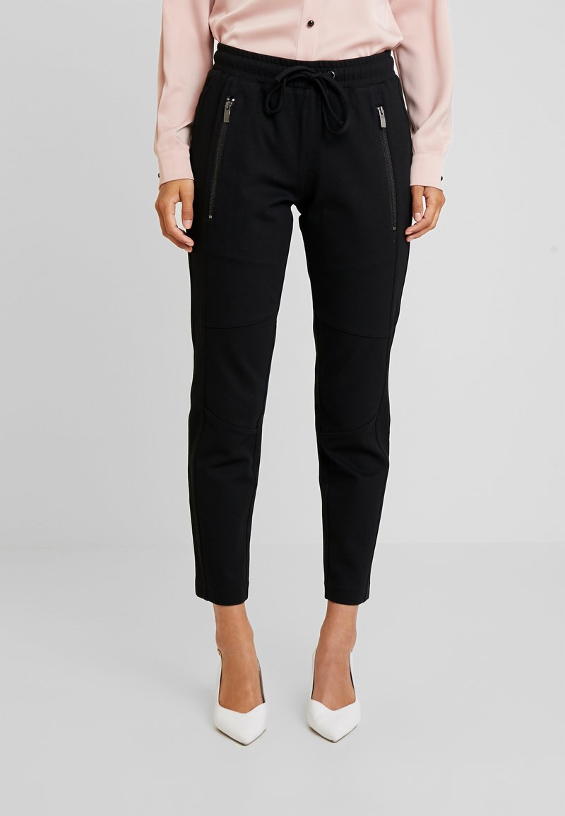 TOM TAILOR - ZIPPED PANTS - Spodnie treningowe - deep black/grey