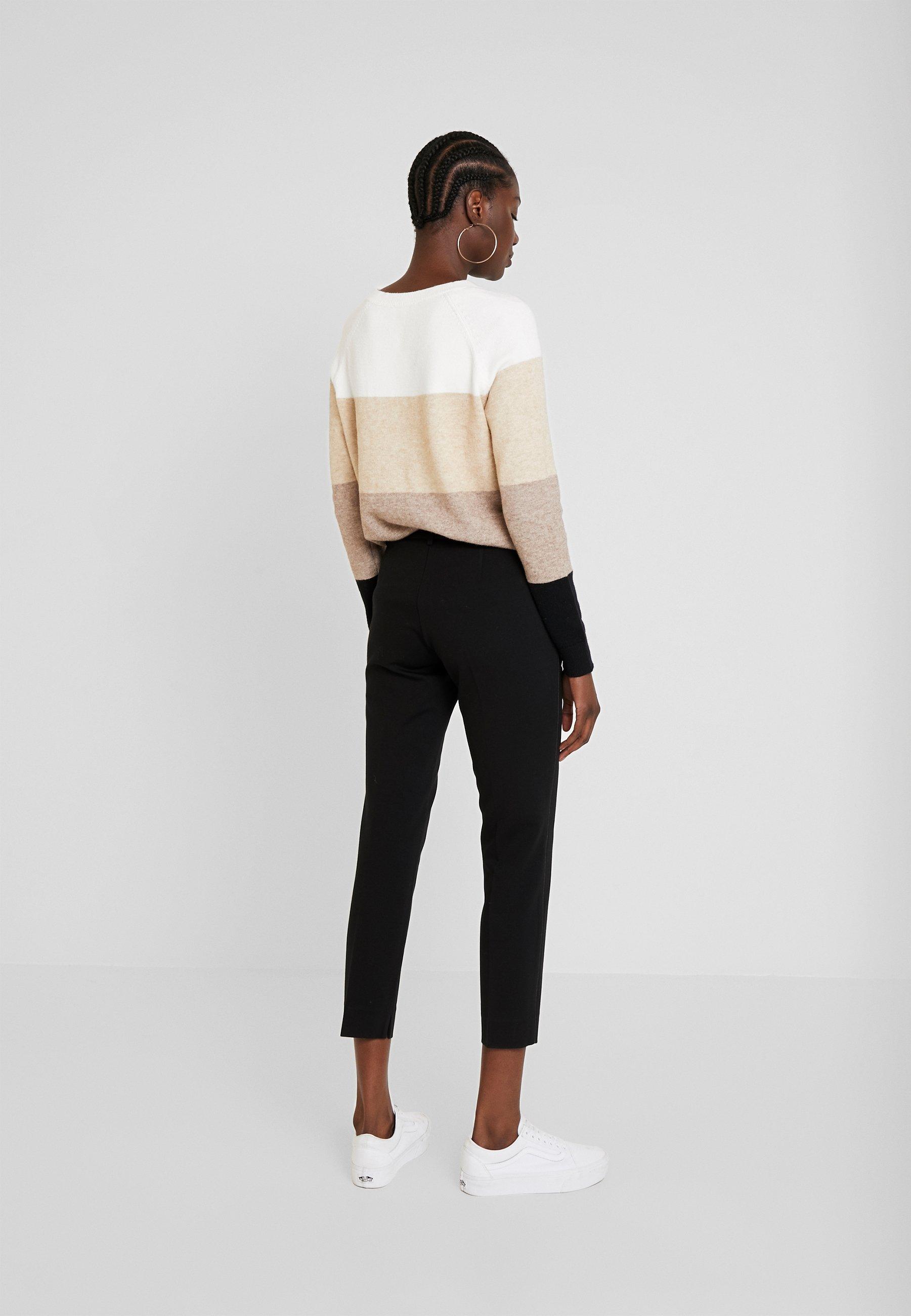 TOM TAILOR MIA SLIM PIPING - Spodnie materiałowe - deep black