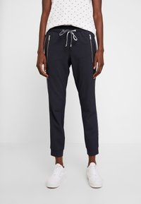 TOM TAILOR - LOOSE FIT PANTS WITH ZIPS - Tygbyxor - navy blue - 0