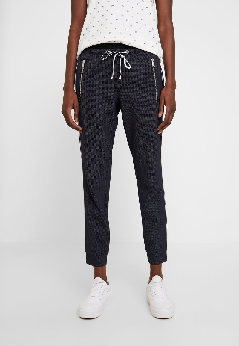 TOM TAILOR - LOOSE FIT PANTS WITH ZIPS - Tygbyxor - navy blue