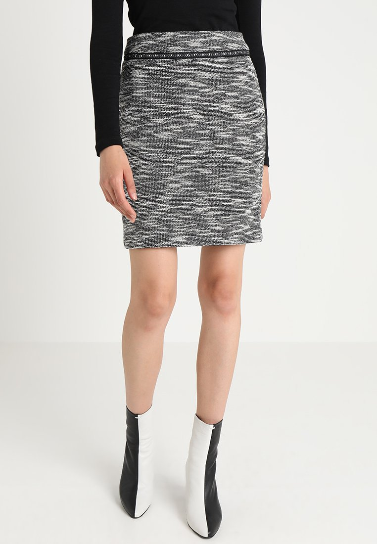 TOM TAILOR - SKIRT STRETCH BOUCLEE - Bleistiftrock - black/grey