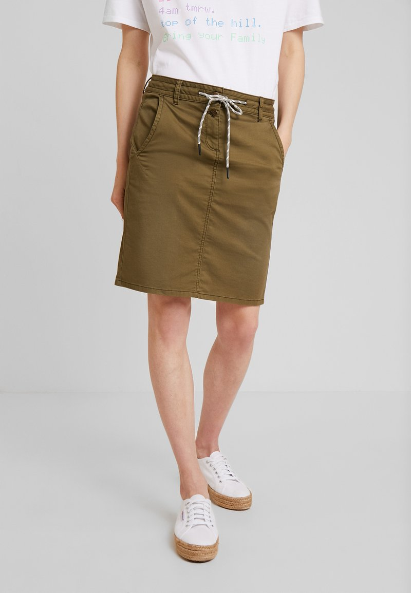 TOM TAILOR - A-line skirt - dry greyish olive