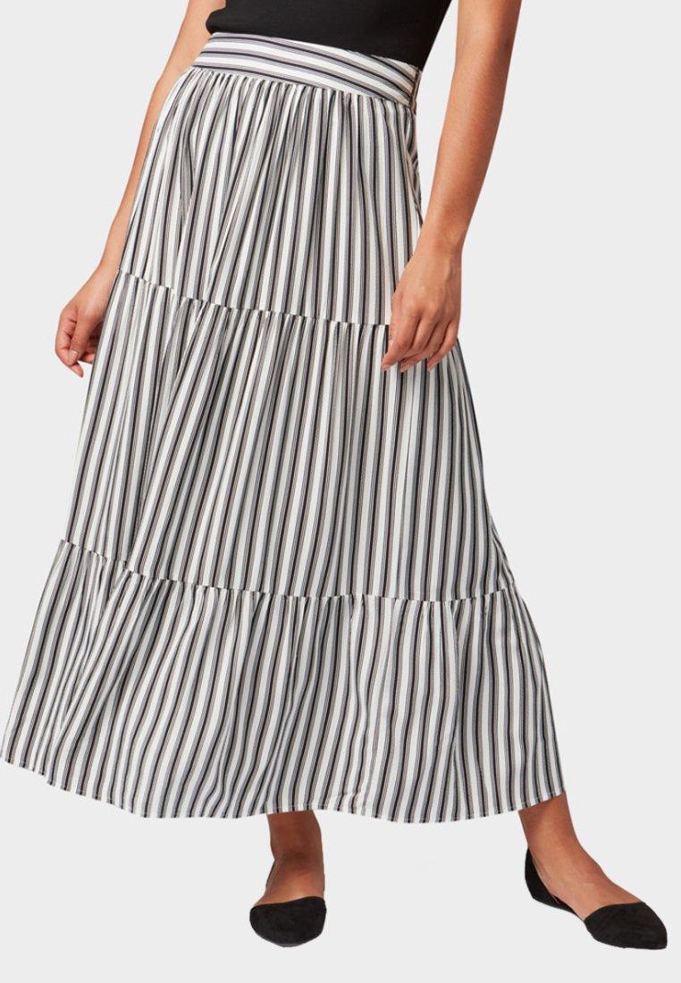 TOM TAILOR - Maxi skirt - offwhite/black