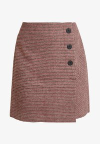 TOM TAILOR - ASYMETRICAL - Jupe portefeuille - black/red/grey - 4