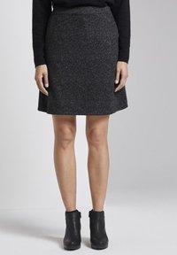 TOM TAILOR - A-line skirt - grey black - 0