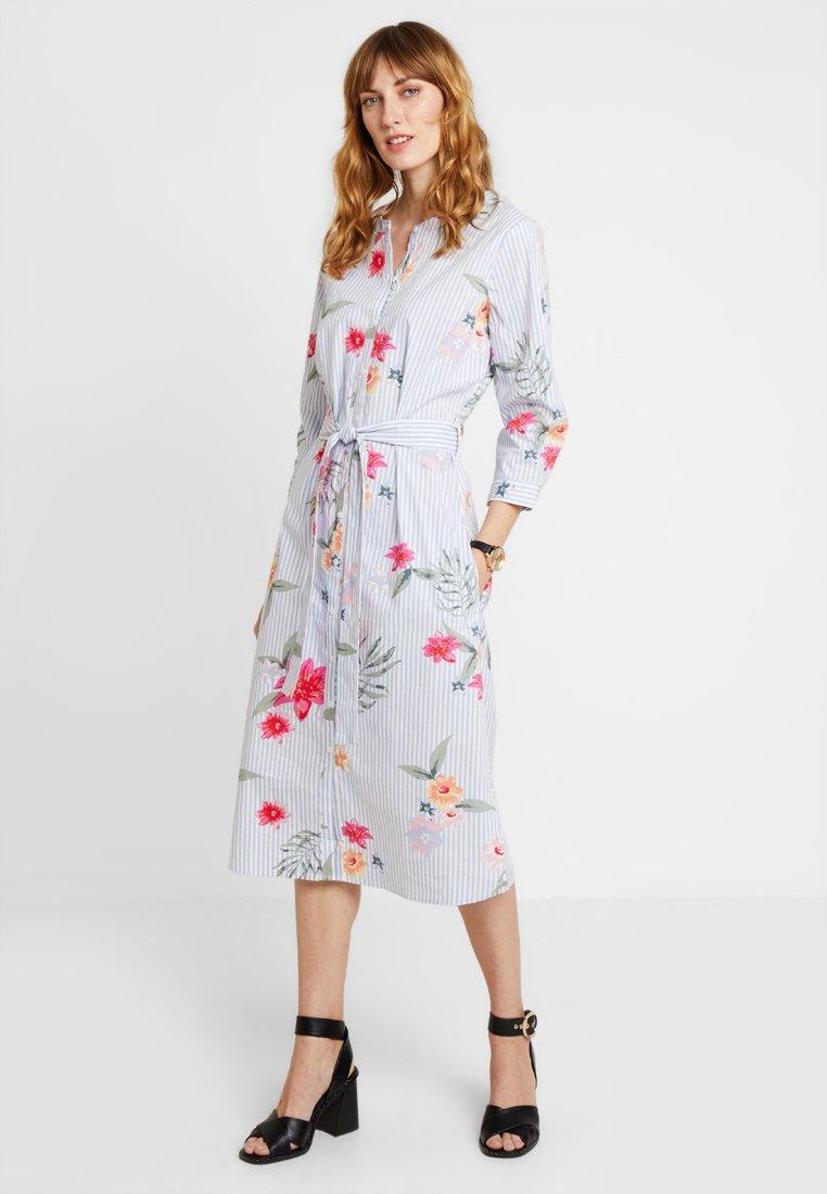 TOM TAILOR - FLOWER STRIPE DRESS - Blusenkleid - lightblue