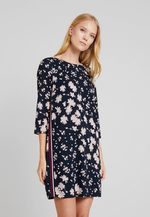 DRESS PRINTED WITH TAPE DETAIL - Day dress - navy blue