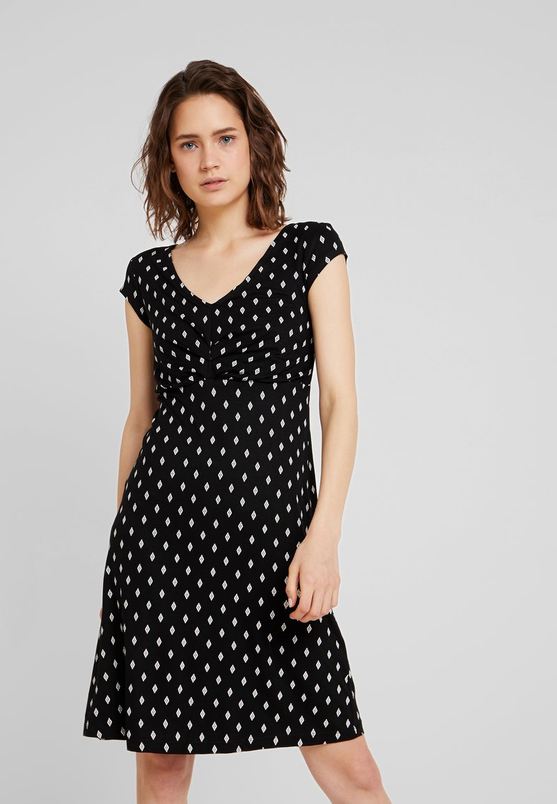 TOM TAILOR - DRESS PRINTED V-NECK - Jersey dress - black/white