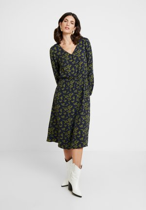 DRESS PRINT MIDI - Day dress - navy/green