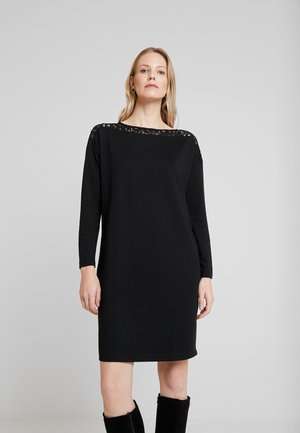 DRESS WITH INSERT - Jersey dress - deep black