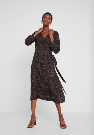 MIDI WRAP DRESS - Denní šaty - black