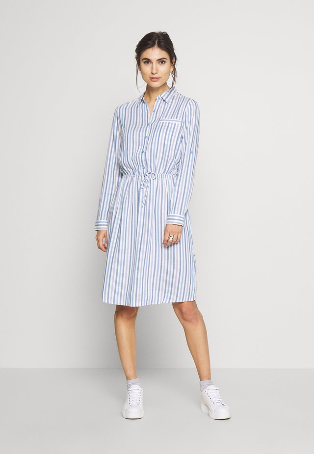 DRESS WITH STRIPES AND COLLAR - Košilové šaty - blue