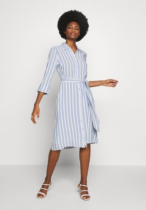 STRIPED - Shirt dress - blue/yellow