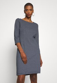 TOM TAILOR - STRUCTURED DRESS - Sweter - navy/white - 0