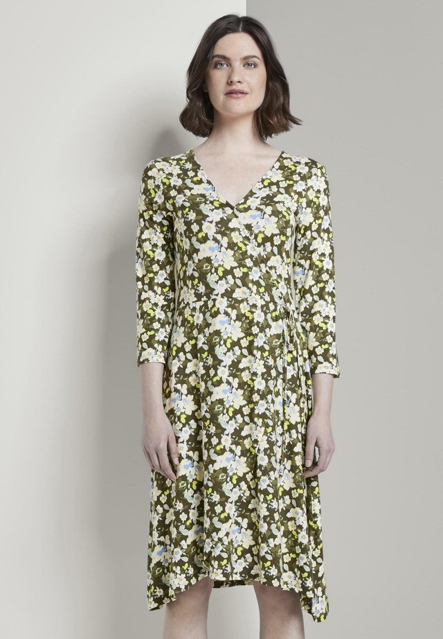 Jerseykleid - small khaki floral design