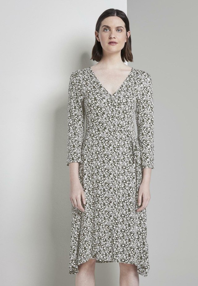 Jerseykleid - khaki offwhite floral design