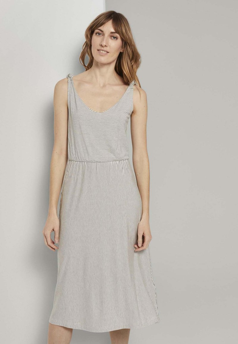 TOM TAILOR - Korte jurk - offwhite thin stripes