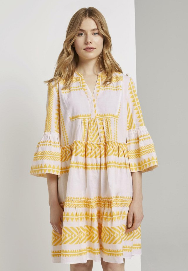 MIT VOLANTS - Day dress - white yellow large ikat design
