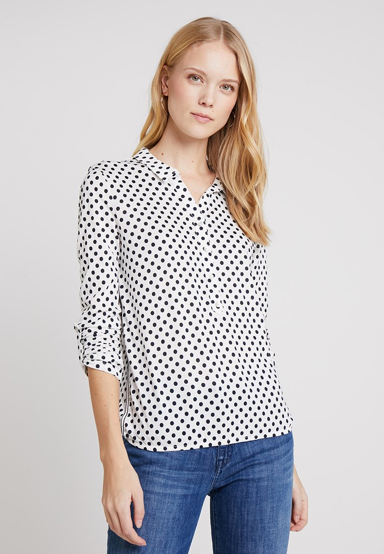 TOM TAILOR - COLLAR AND PRINT - Long sleeved top - white