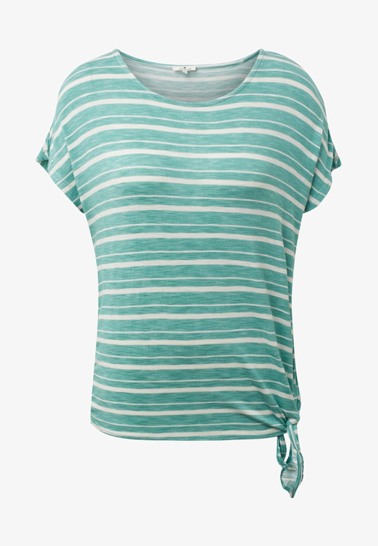 TOM TAILOR - MIT KNOTENDETAIL - T-shirt imprimé - green/white