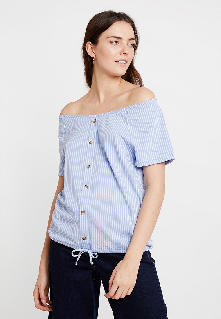 TOM TAILOR - CARMEN VERTICAL STRIPE - T-Shirt print - blue/white