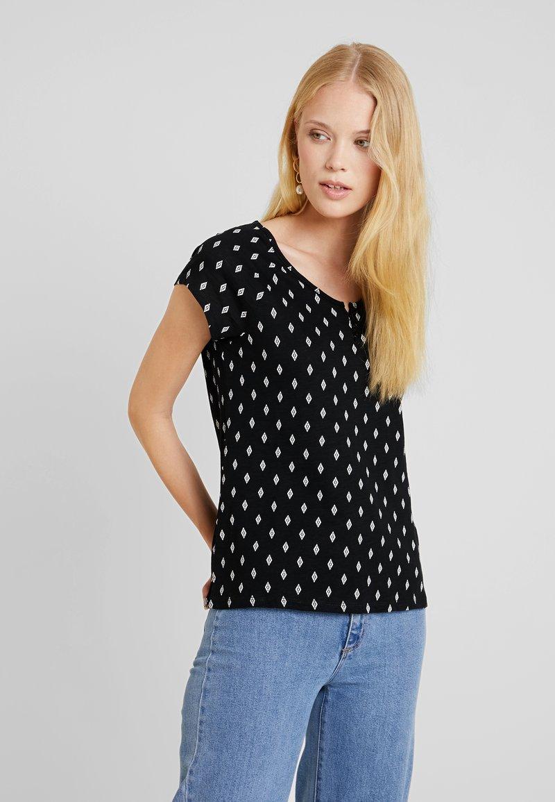 TOM TAILOR - HENLEY WITH PRINT - T-shirt z nadrukiem - black/grey