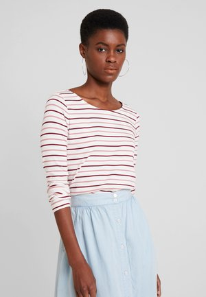 STRIPED - Long sleeved top - offwhite/rose/red