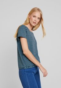 TOM TAILOR - STRUCTURE STRIPE - T-shirt imprimé - mint navy - 3