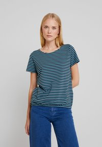 TOM TAILOR - STRUCTURE STRIPE - T-shirt imprimé - mint navy - 0