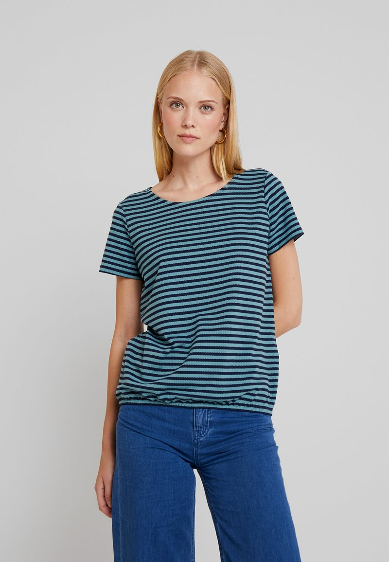 TOM TAILOR - STRUCTURE STRIPE - T-shirt imprimé - mint navy