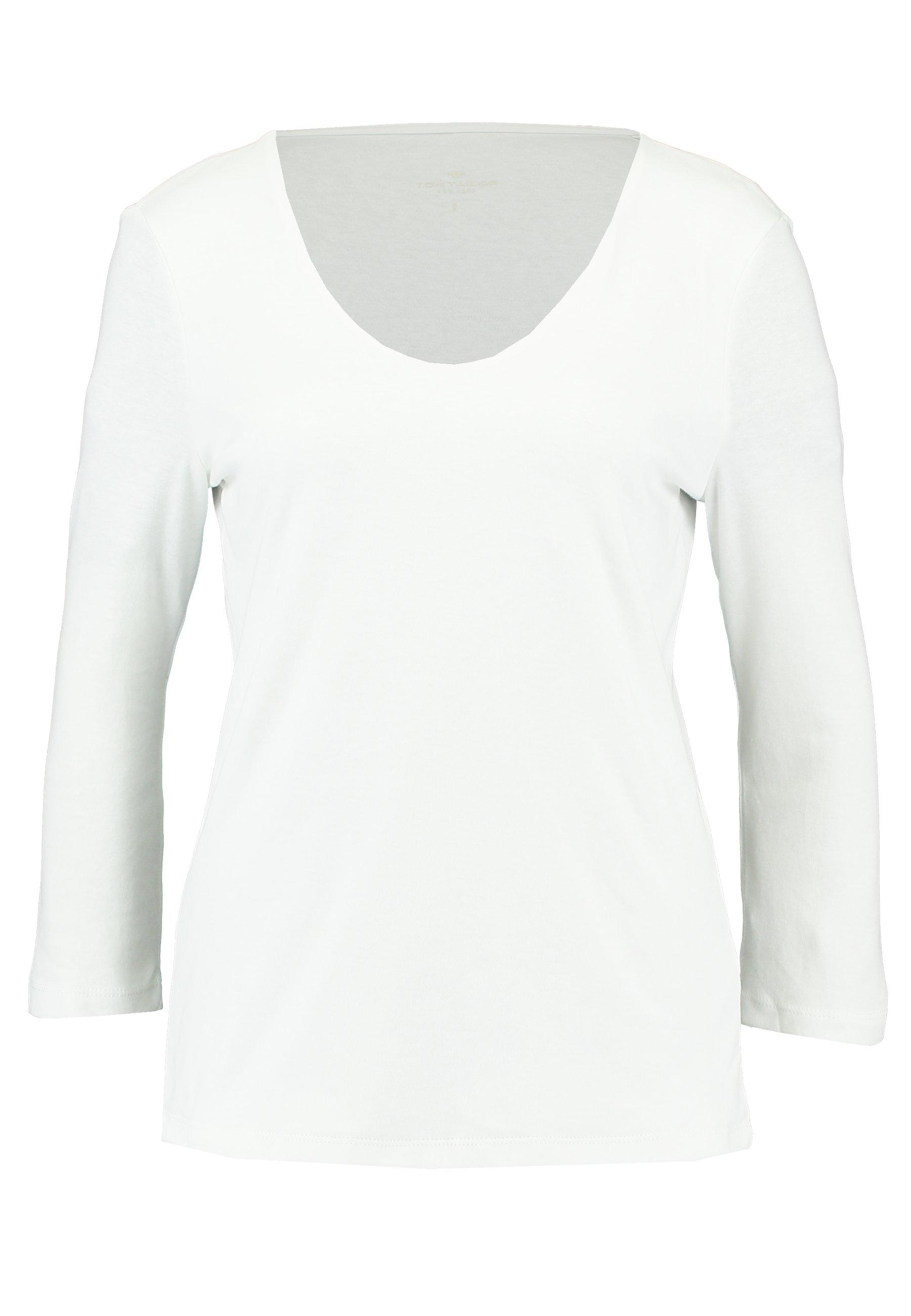 TOM TAILOR DOUBLE FRONT - Bluzka z długim rękawem - whisper white