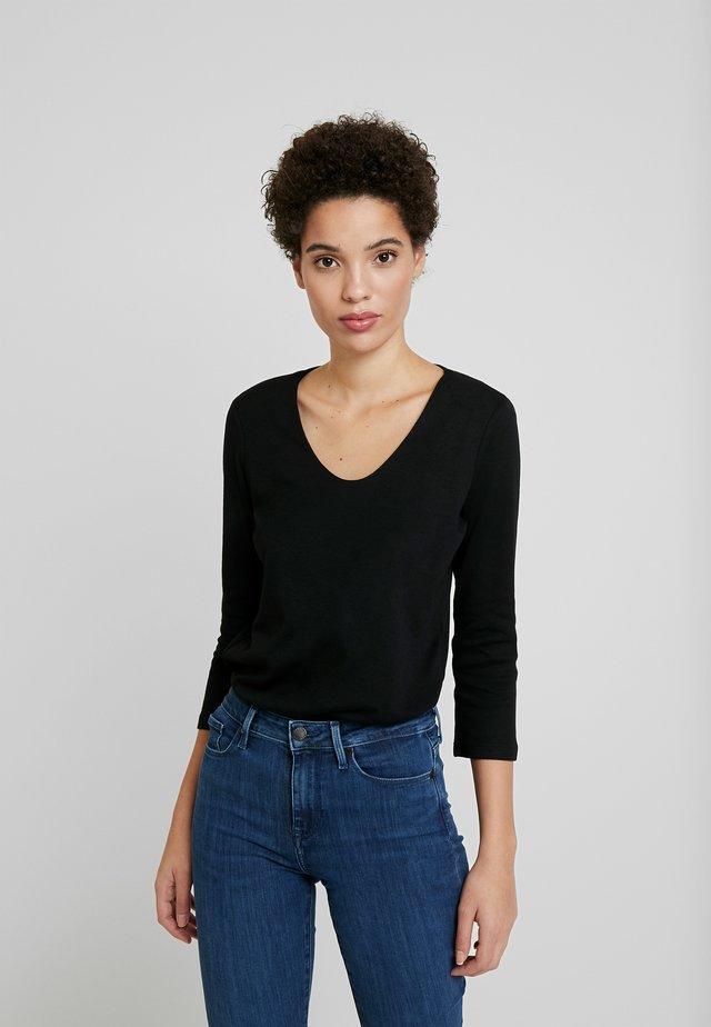 DOUBLE FRONT - Bluzka z długim rękawem - deep black